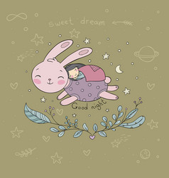 sleeping cartoon girl and bunny vector image