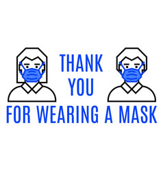 thank you for wearing mask vector image