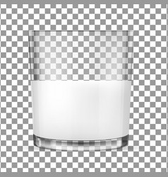 Transparent glass glasses for milk vector