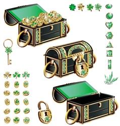 treasure chest with emerald ornament vector image