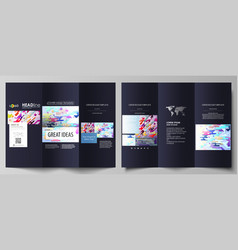 tri-fold brochure business templates abstract vector image