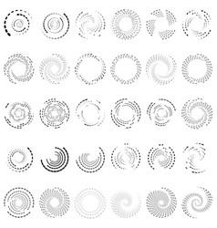 Twirl spiral swirl circle set 30 random radial vector