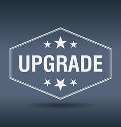 Upgrade hexagonal white vintage retro style label vector