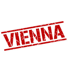 Vienna red square stamp vector