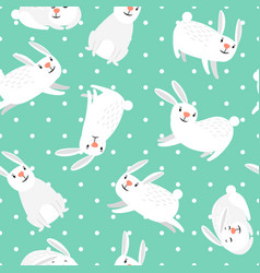 white bunny easter seamless pattern vector image