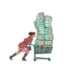 Woman bought toilet paper panic coronavirus vector