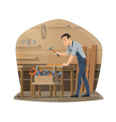 Woodwork carpenter wood furniture maker vector