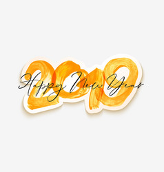 yellow watercolor happy new year brush lettering vector image
