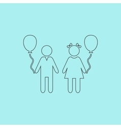 children and Balloon vector image