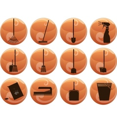 cleaning icons on buttons vector image
