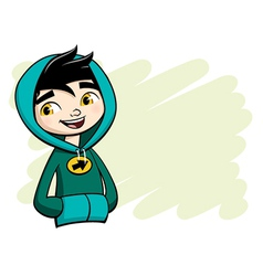 Cool boy posing in green hooded shirt vector image