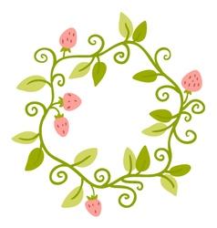 Floral Frame Cute retro berries wreath vector image