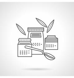 Organic food jars thin line icon vector image vector image