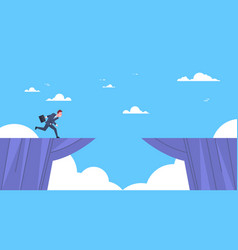 businessman jumping over mountain gap business vector image