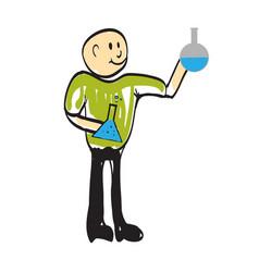 cartoon man chemist vector image