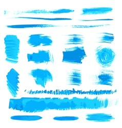 handmade blue strokes set painted by brush vector image