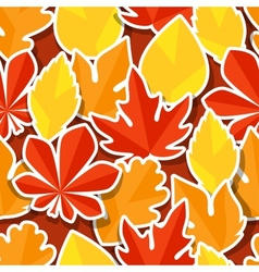 Seamless pattern with stickers autumn leaves vector image vector image