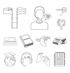 translator and linguist outline icons in set vector image vector image