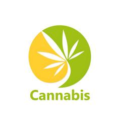 cannabis leaf medical logo vector image