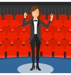 Conductor directing with baton vector image