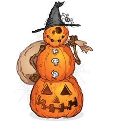Halloween Pumpkin Scarecrow Cartoon Character vector image vector image