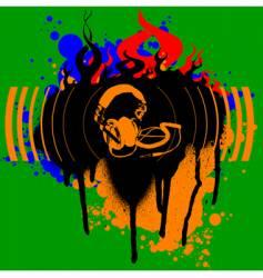 headphones graffiti vector image vector image