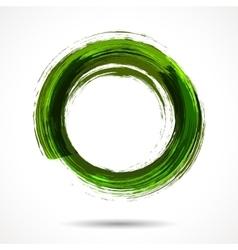 Fresh green brush painted watercolor ring vector