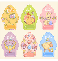 greeting easter tags set vector image
