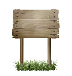 old wooden signboard in a grass vector image