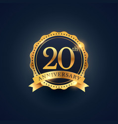 20th anniversary celebration badge label in vector