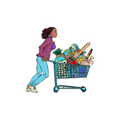 african woman with a full grocery cart vector image