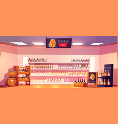 Alcohol shop with bottles on shelves and barrels vector