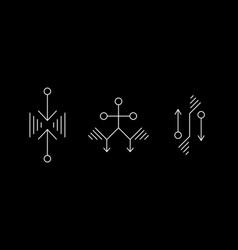 Alien geometry white symbol set ufo signs design vector