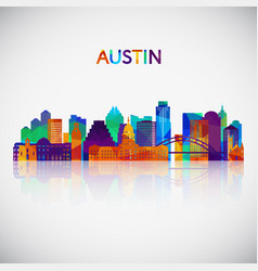 austin skyline silhouette in colorful geometric vector image