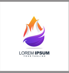 Awesome flame gradient logo design vector