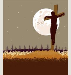 background jesus fromt cross vector image