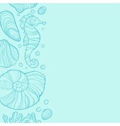 Background with seashells rocks seahorse and vector image