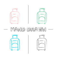 Baggage hand drawn icons set vector