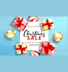beautiful web banner for christmas sale vector image