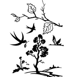 black and white nature set vector image