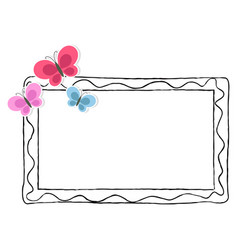 Black and white photo frame with color butterflies vector