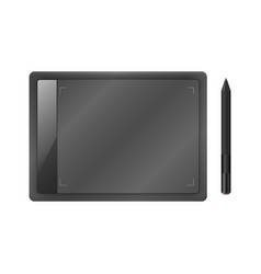 Black graphic tablet with pen vector