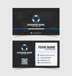 blue modern and clean business card print template vector image