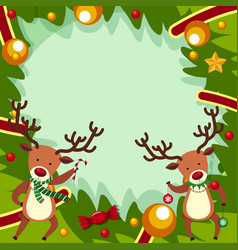 Border template with two reindeers for christmas vector