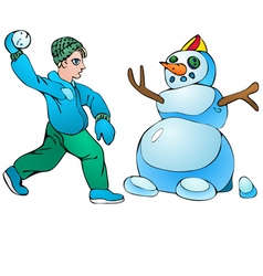 Boy with snowball and snowman vector