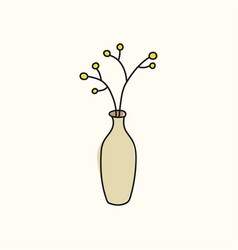 brown vase with flowers vector image