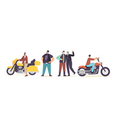 brutal bikers senior and young characters in vector image