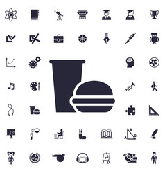 Burger and drink icon vector