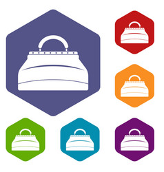 carpetbag icons set hexagon vector image