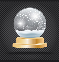 christmas crystal ball with snow on transparent vector image